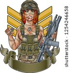 sexy army girl with assault... | Shutterstock .eps vector #1254246658