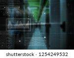 graphic  against empty server... | Shutterstock . vector #1254249532