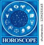 zodiac vector signs  horoscope... | Shutterstock .eps vector #1254253165