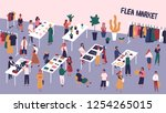 flea or fashion market  rag... | Shutterstock .eps vector #1254265015