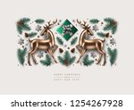 christmas decorative... | Shutterstock .eps vector #1254267928
