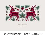 christmas decorative... | Shutterstock .eps vector #1254268822