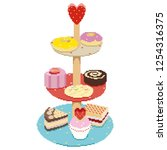 collection of tasty cakes of... | Shutterstock .eps vector #1254316375