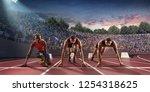male athletes sprinting. three... | Shutterstock . vector #1254318625