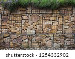 gabion wall with plands... | Shutterstock . vector #1254332902