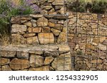 gabion wall with plands... | Shutterstock . vector #1254332905