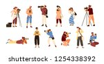 set of various photographers... | Shutterstock .eps vector #1254338392