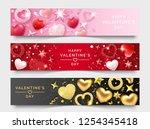 three valentines day horizontal ... | Shutterstock .eps vector #1254345418