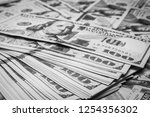 business dollar money on white... | Shutterstock . vector #1254356302