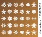 collection of golden snowflakes ... | Shutterstock . vector #1254360898