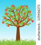 apple tree stands in the grass... | Shutterstock .eps vector #125436272