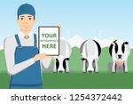 modern farmer with digital... | Shutterstock .eps vector #1254372442