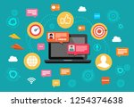 concept nline chat laptop with... | Shutterstock .eps vector #1254374638
