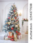 decorated christmas tree  with... | Shutterstock . vector #1254377038