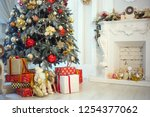 decorated christmas tree  with... | Shutterstock . vector #1254377062