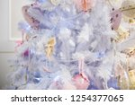 decorated blue christmas tree ... | Shutterstock . vector #1254377065