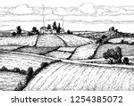 rural landscape. countryside... | Shutterstock .eps vector #1254385072
