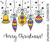 christmas ball toys doodle... | Shutterstock .eps vector #1254386578