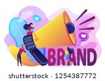 marketers with megaphone... | Shutterstock .eps vector #1254387772