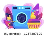 laundry service worker ironing  ... | Shutterstock .eps vector #1254387802