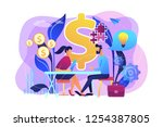 salesperson suggesting a... | Shutterstock .eps vector #1254387805
