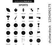 sports glyph vector icon set | Shutterstock .eps vector #1254390175