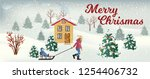vector snowfall landscape with... | Shutterstock .eps vector #1254406732