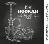 sketch hookah with berries and ... | Shutterstock . vector #1254422968