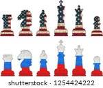 chess pieces with usa flag and... | Shutterstock .eps vector #1254424222