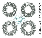 christmas wreaths for greeting... | Shutterstock .eps vector #1254434272