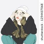 the woman kneeling  weeping ... | Shutterstock .eps vector #1254437068