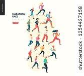 marathon race group   flat... | Shutterstock .eps vector #1254437158