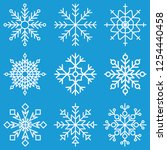 various unique blue snowflake... | Shutterstock .eps vector #1254440458