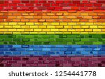 gay pride flag on a brick wall  ... | Shutterstock .eps vector #1254441778