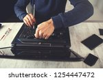 man laptop keyboard... | Shutterstock . vector #1254447472
