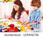 family with children playing...   Shutterstock . vector #125446736