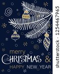 blue merry christmas and happy... | Shutterstock .eps vector #1254467965