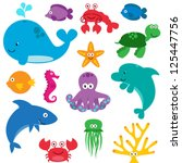 vector set of cute sea creatures | Shutterstock .eps vector #125447756