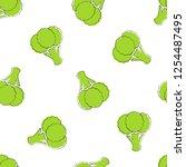 broccoli vegetable seamless... | Shutterstock .eps vector #1254487495