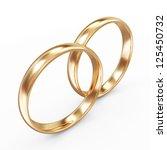 Golden Wedding Rings isolated on white background - stock photo