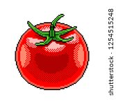 pixel art tomato fruit detailed ... | Shutterstock .eps vector #1254515248