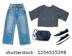 set of fashion clothes on a... | Shutterstock . vector #1254515398
