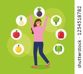people healthy food | Shutterstock .eps vector #1254518782