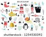 big kids sea life clipart... | Shutterstock .eps vector #1254530392