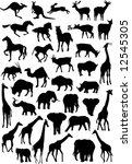vector wild animals silhouettes | Shutterstock .eps vector #12545305