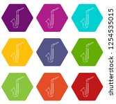saxophone icons 9 set coloful... | Shutterstock .eps vector #1254535015