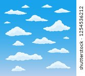 cartoon cloud set. cloudy sky... | Shutterstock .eps vector #1254536212