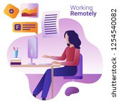 work remotely concept. the flat ... | Shutterstock .eps vector #1254540082