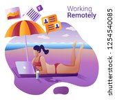 work remotely concept. the flat ... | Shutterstock .eps vector #1254540085