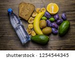 healthy food on the table for a ... | Shutterstock . vector #1254544345